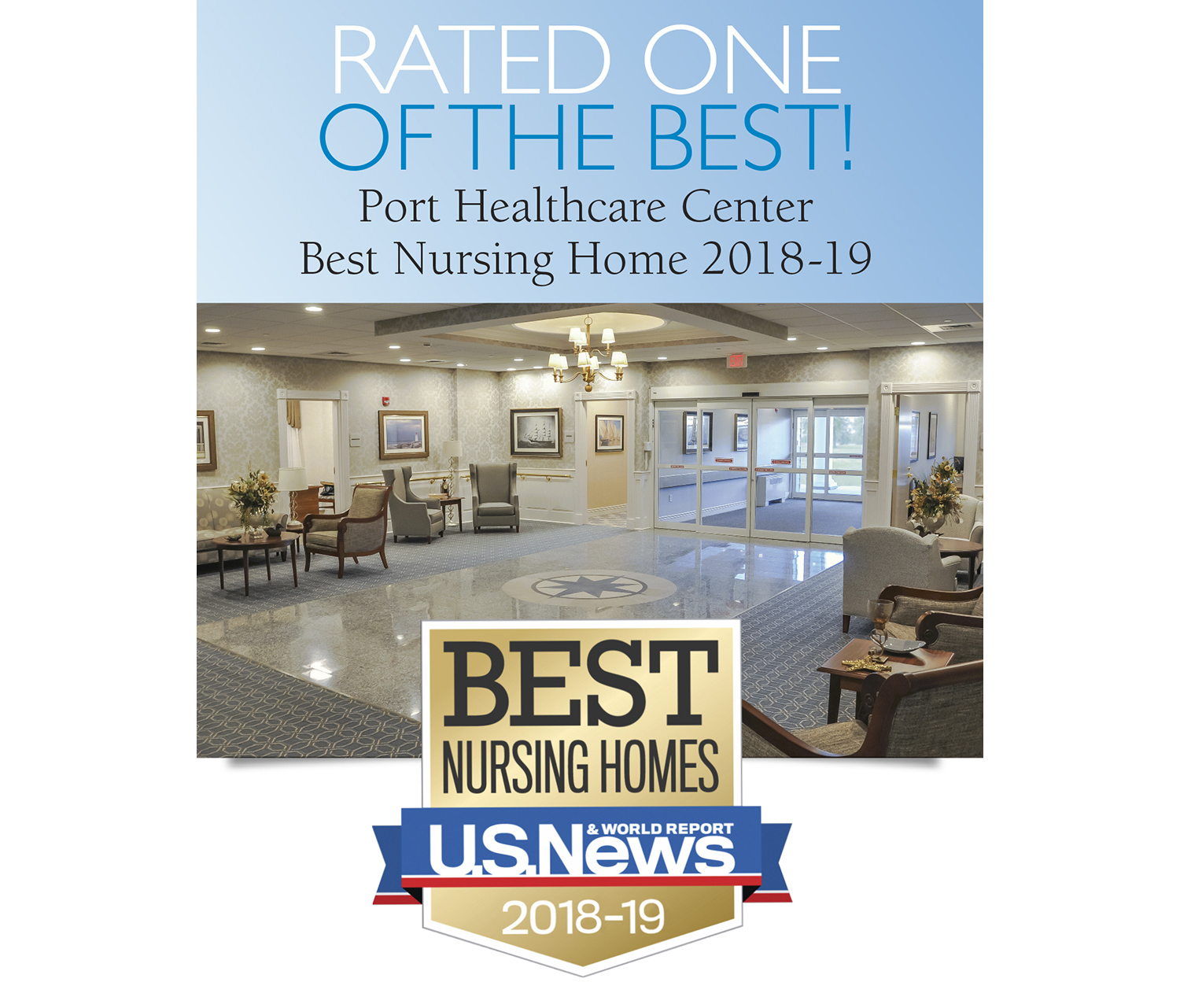 """Another Whittier best! Port Healthcare Center has been recognized as a """"Best Nursing Home"""" by U.S. News & World Report 2018-19"""